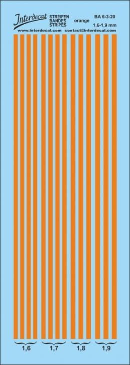 Streifen orange Decal 1,1-1,4 mm Naßschiebebild BA6-2-20