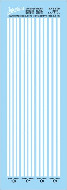 Stripes white matt 1,6 - 1,9 mm