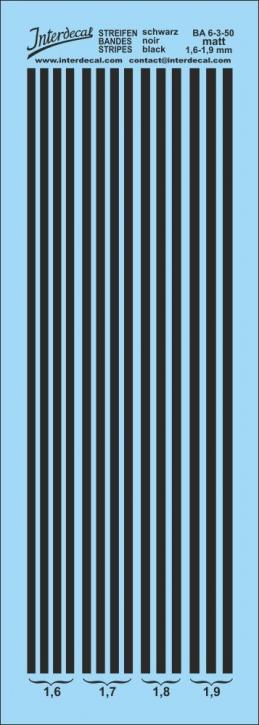 Stripes matt black 1,6-1,9 mm  BA6-3-50