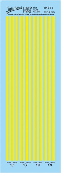Streifen gelb 1,6 - 1,9 mm  (50x140 mm)