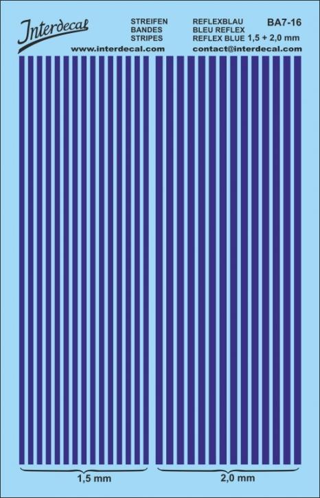 Stripes dark blue 1,5mm  &  2,0 mm   (130 x 80 mm)