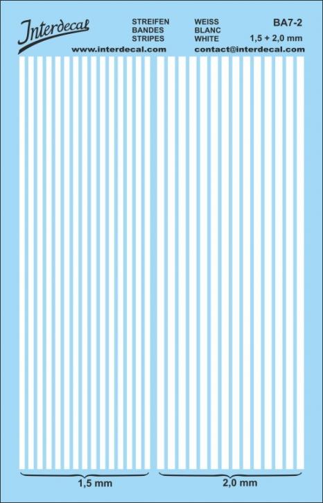 Stripes white 1,5mm  &  2,0 mm   (130 x 80 mm)