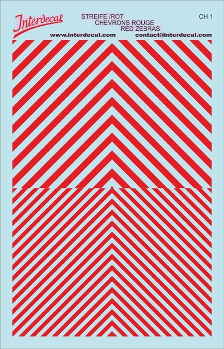 Chevrons 1/43 (90 x140 mm) red-white