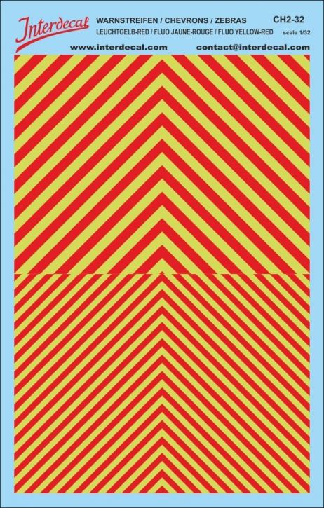Warnstreifen 1/32 (185 x 118 mm) leuchtgelb / rot
