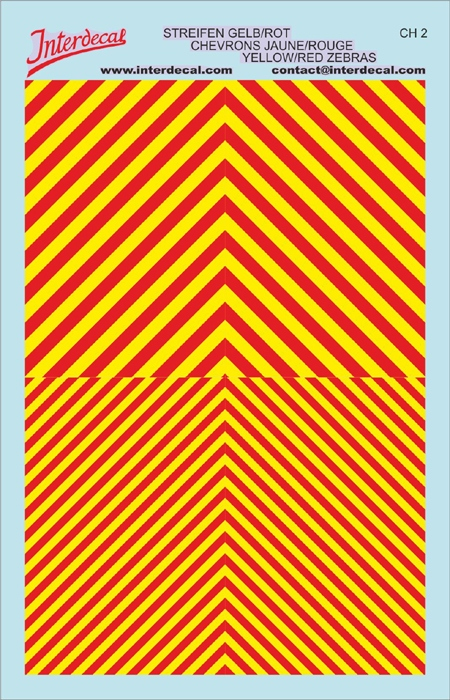 Chevrons 1/43 (90 x140 mm) yellow fluorescent / red