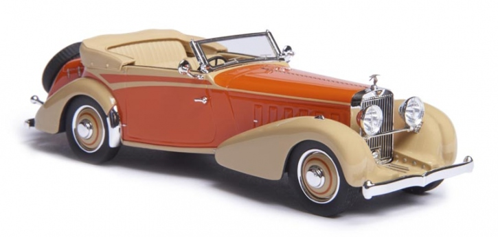 1934 Hispano Suiza J12 cabriolet by Vanvooren   top down   orange/beige   EMEU43002A