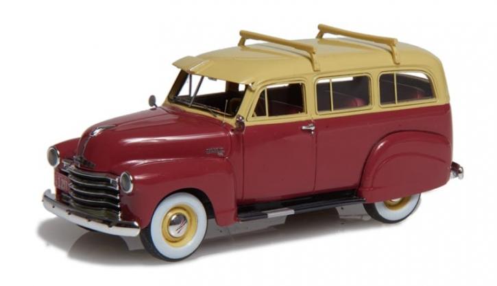 1949-53 Chevrolet Suburban mit Seitenschweller und einzelner hinterer Tür kastanienrot/beige EMUS43085A