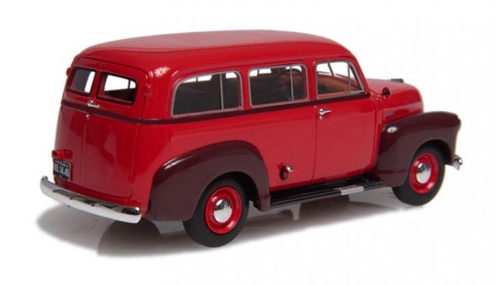 1949-53 Chevrolet Suburban ohne Seitenschweller mit einzelner hinterer Tür kastanienrot/braun EMUS43085B