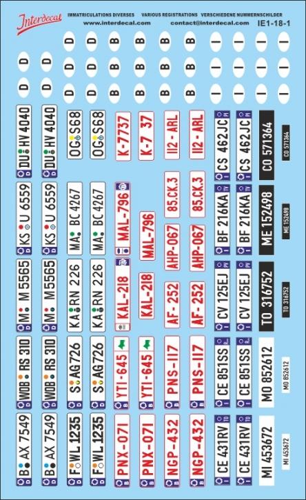 Plaques immatriculations divers 1/18 (120x195 mm)