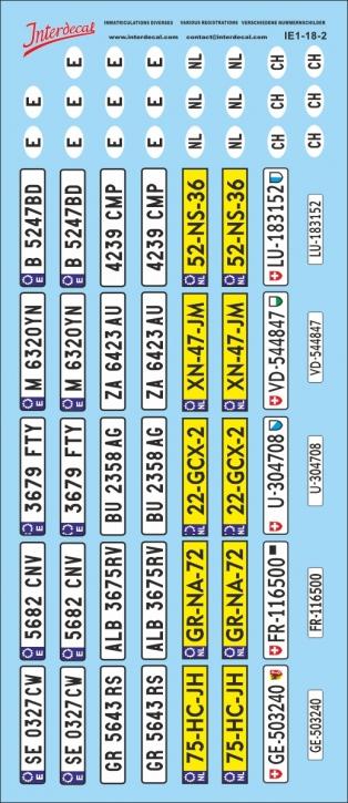 Plaques immatriculations divers 2 1/18 (85x195 mm)