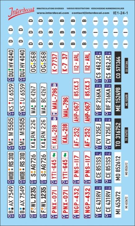 Verschiedene Kennzeichen 1 1/24 (90x150 mm)