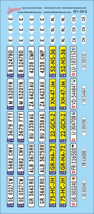 Verschiedene Kennzeichen 2 1/24 (66x150 mm)