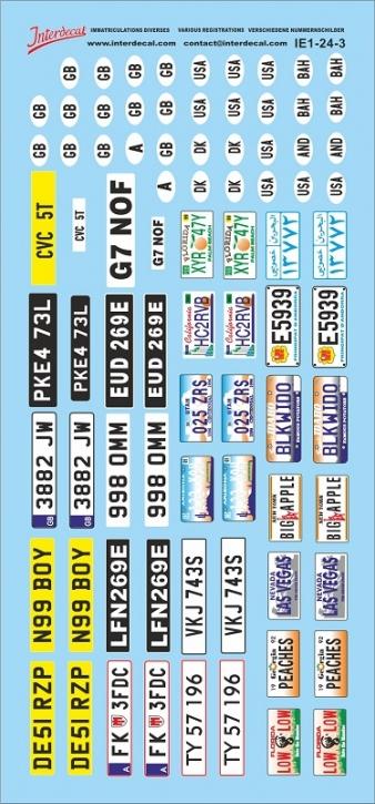 Verschiedene Kennzeichen 3 1/24 (70x150 mm)