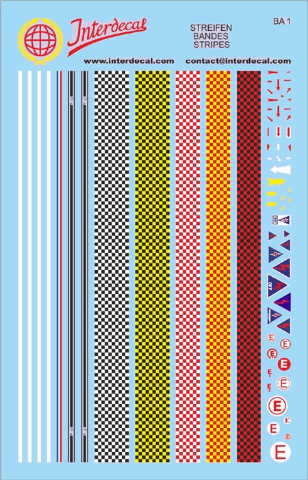 checkered stripes  assorted colors 1/43 (90x140 mm)