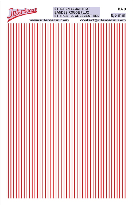Stripes  0,5mm  red fluorescent (90x140 mm)