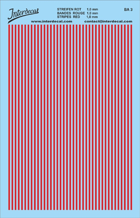 Stripes 1,0 mm  red (90x140 mm)