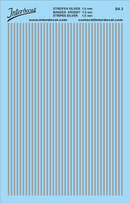 Stripes 1,0 mm  silver (90x140 mm)