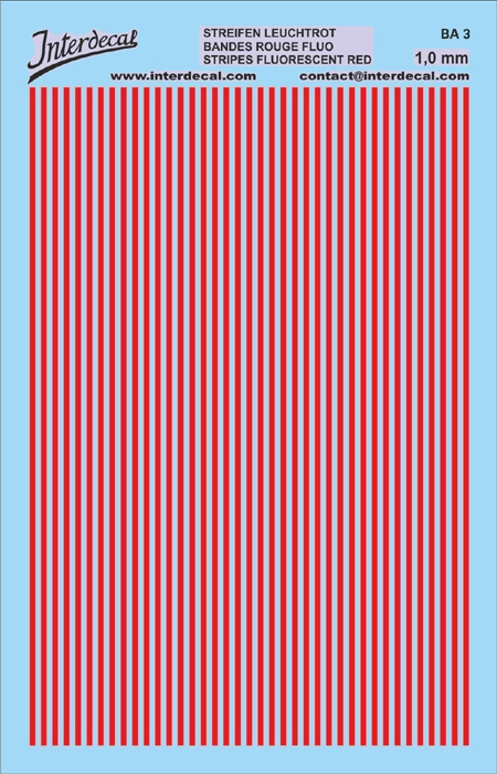 Stripes 1,0 mm  red fluorescent (90x140 mm)