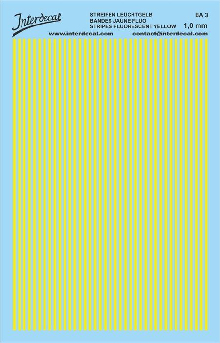 Stripes 1,0 mm yellow fluorescent (90x140 mm)