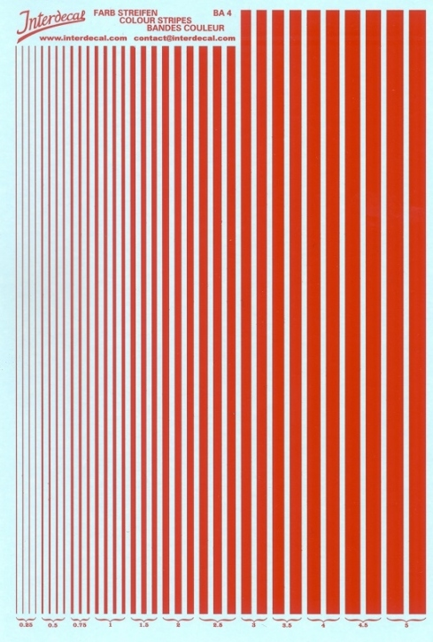 Stripes  0,25 - 5,0 mm  red (130x190 mm)