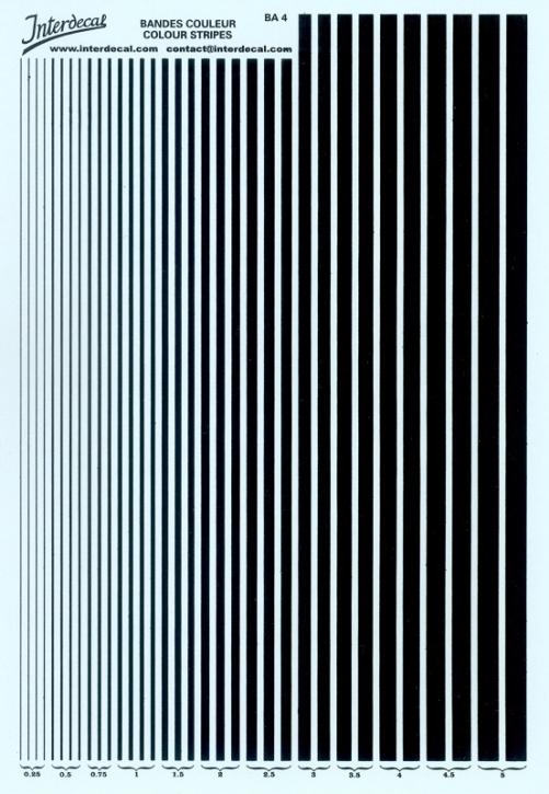 Streifen  0,25 - 5,0 mm  schwarz (130x190 mm)