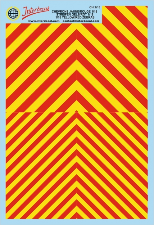 Chevrons 1/18 (190 x 130 mm) red/fluo yellow