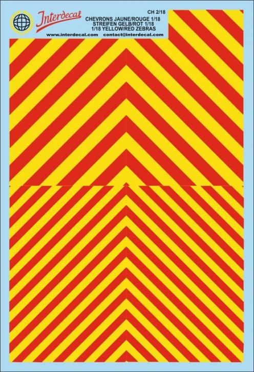 Warnstreifen 1/18 (190 x 130 mm) rot/leucht gelb