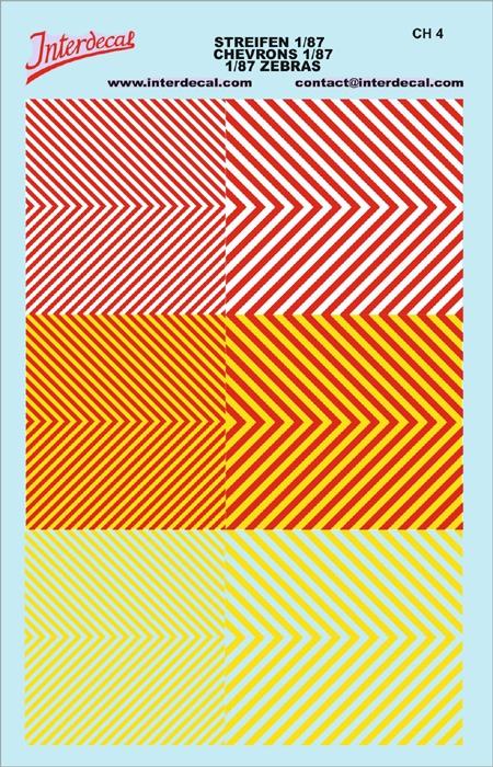 Chevrons 1/87 (90 x140 mm) yellow fluorescent/red/yellow