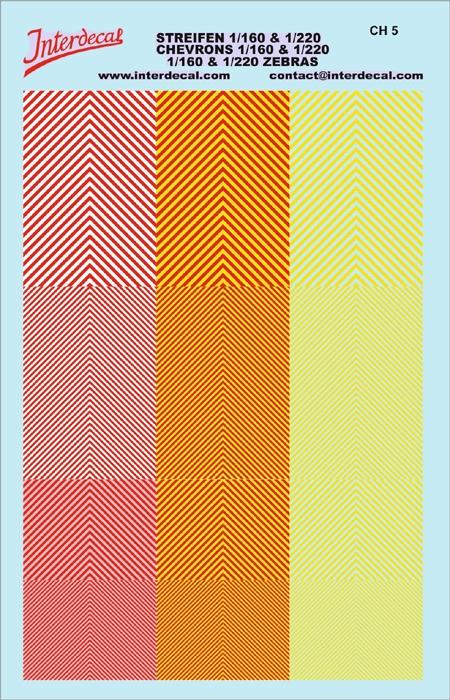Chevrons 1/160 u. 1/220 (90 x140 mm) yellow fluorescent/red