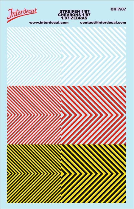 Chevrons 1/87 (90 x140 mm) yellow/ black/ red white