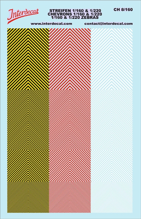 Chevrons 1/160 u. 1/220 (90 x140 mm) yellow/ black/ red white