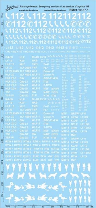 Rettungsdienste Decal weiss DE 10 1/87 (195x90 mm)
