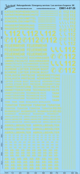Emergency services dayglow yellow Decal DE 04 1/87 (195x90 mm)