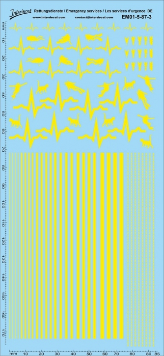Rettungsdienste gelb Decal DE 05 1/87 (195x90 mm)