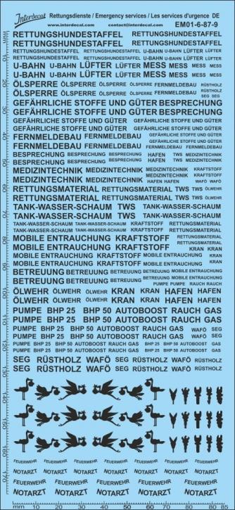 Rettungsdienste schwarz Decal DE 06 1/87 (195x90 mm)