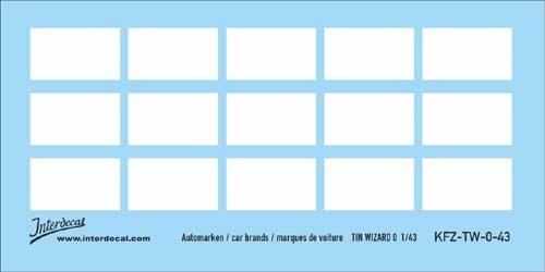 Automarken weiss 1/43 (90x53 mm)