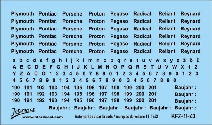 Automarken 11 1/43 (90x53 mm)