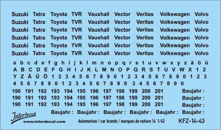 Automarken 14 1/43 (90x53 mm)