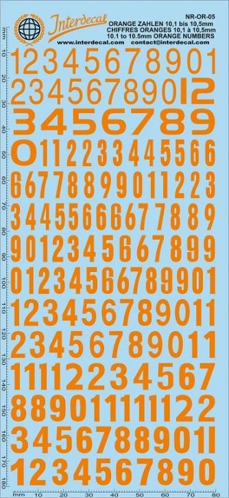 Orange numbers 5 10,1-10,5 mm (180x80 mm)