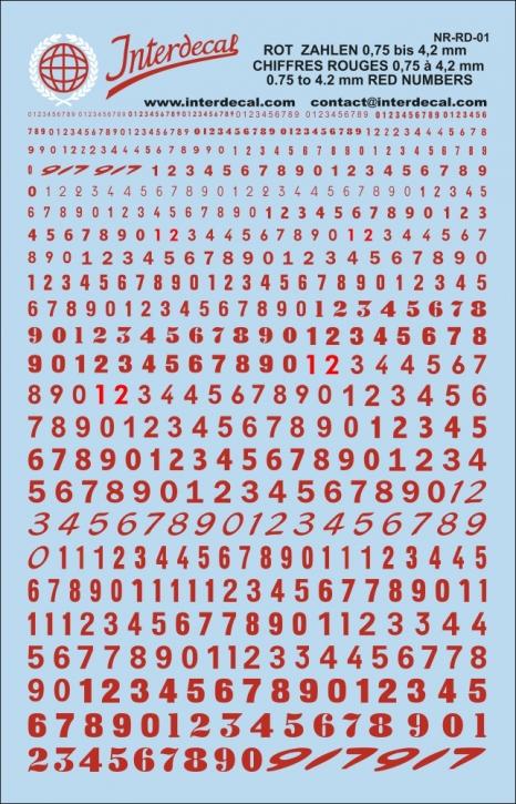Rote Zahlen 1 0,75 - 4,2 mm (140x90 mm)