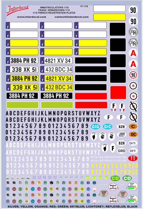 Französische Kennzeichen 1/18 (130x190 mm)