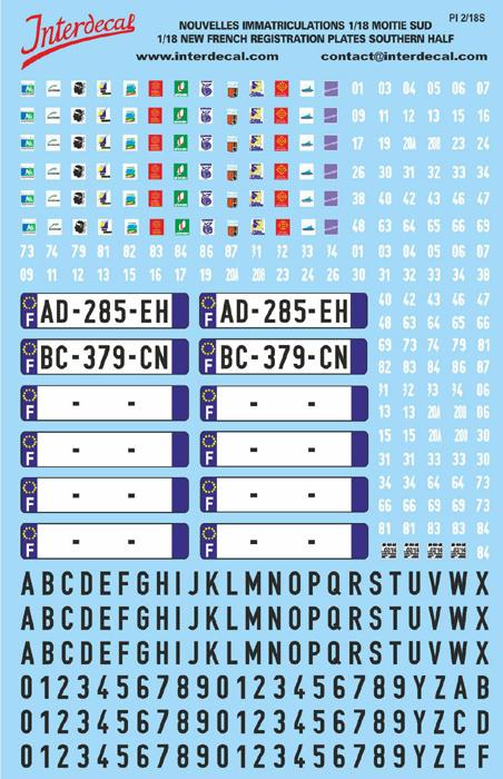 Plaques immatriculations Sud 1/18 (140x90 mm)