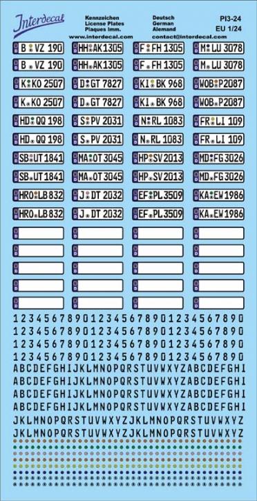 Deutsche Kennzeichen (Euro) Decal 1/24