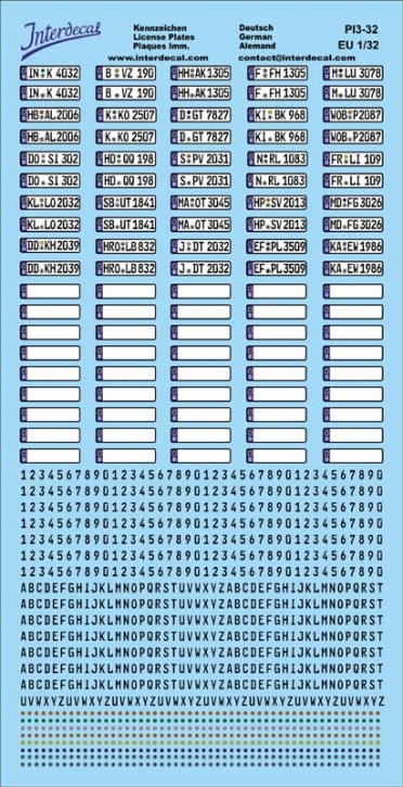 Plaques immatriculations Allemagne (Euro) Decal 1/32