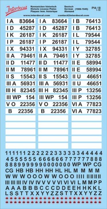 Plaques immatriculations Allemagne (historiquement) Decal 1/18