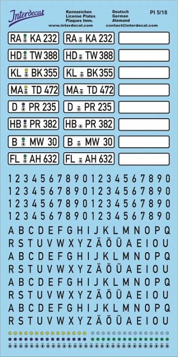 Deutsche Kennzeichen 1/18 (200x100 mm)