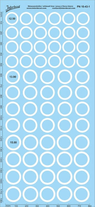 Whitewall tyres Decals 1/43 (180x80 mm)
