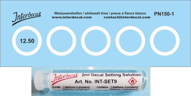 Decals +  Decal Setting Solution  Weisswandreifen  (12,5 x 9,5 mm) 1/43 (80x28m)