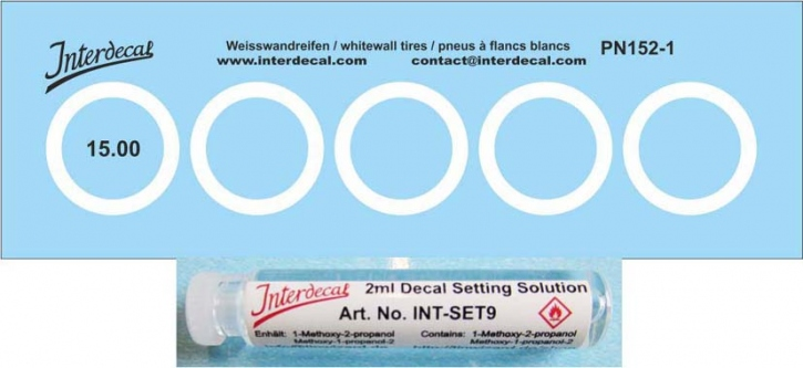 Decals + Decal Setting Solution  Weisswandreifen  (15,0 x 11,4 mm) 1/43 (90x29m)