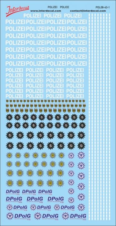 Polizei Logos und Gaps 1/43 (190x90 mm)